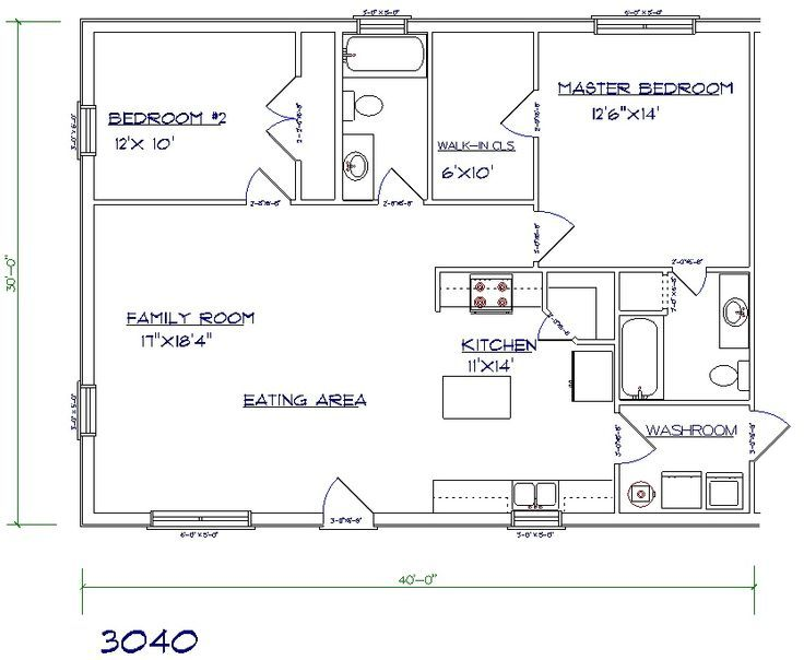 Barndominium Floor Palns 2 Bed 2 Bath 30x40