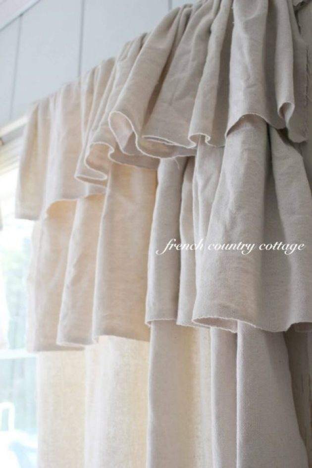 French Country Decor Ideas - Ruffled Natural Linen Window Curtains - Cabritonyc.com