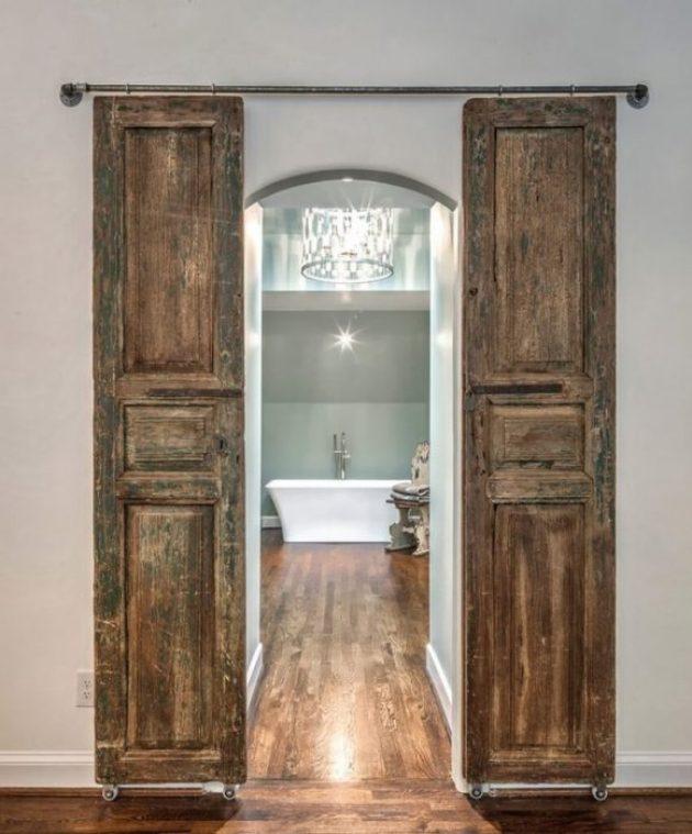 French Country Decor Ideas - Rustic Wooden Barn Doors for Ensuite Bathroom - Cabritonyc.com