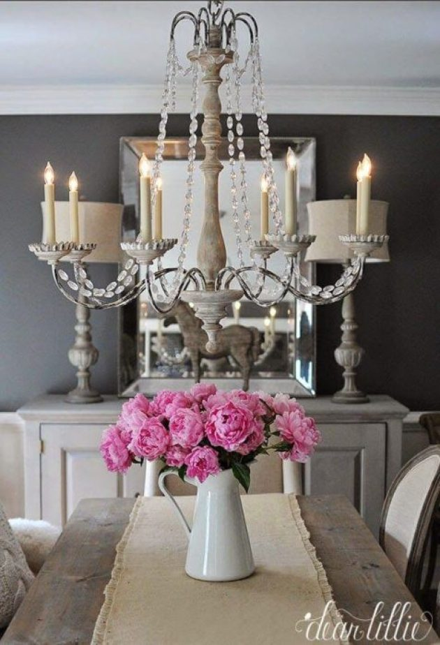 French Country Decor Ideas - Elegant Grey Dining Room and Colorful Peonies - Cabritonyc.com