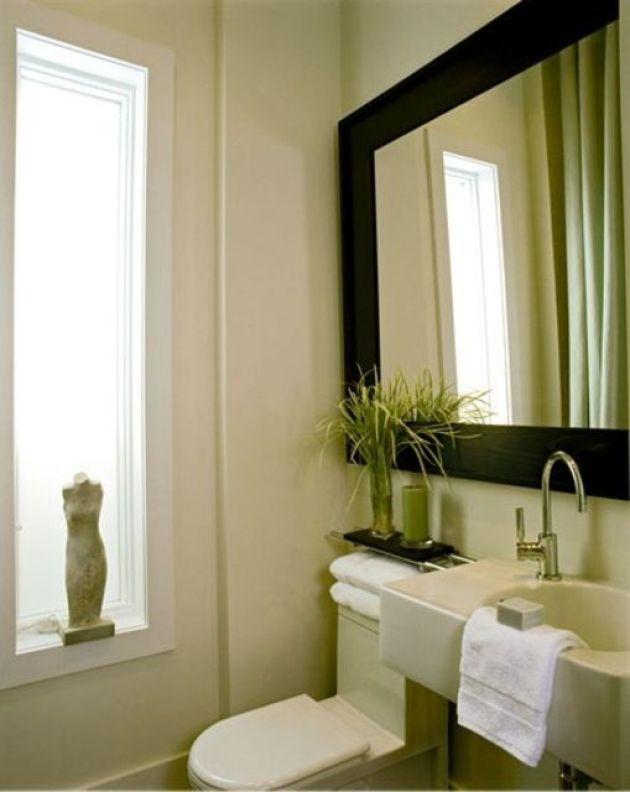 Clean Bathroom Mirror Ideas With Large Framed Mirror