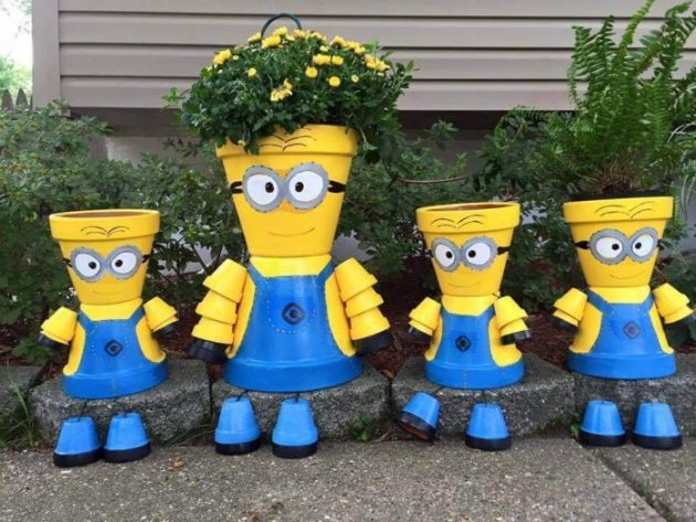 Front Door Flower Pots Ideas - DIY Minion Flower Pot Decorations - Cabritonyc.com