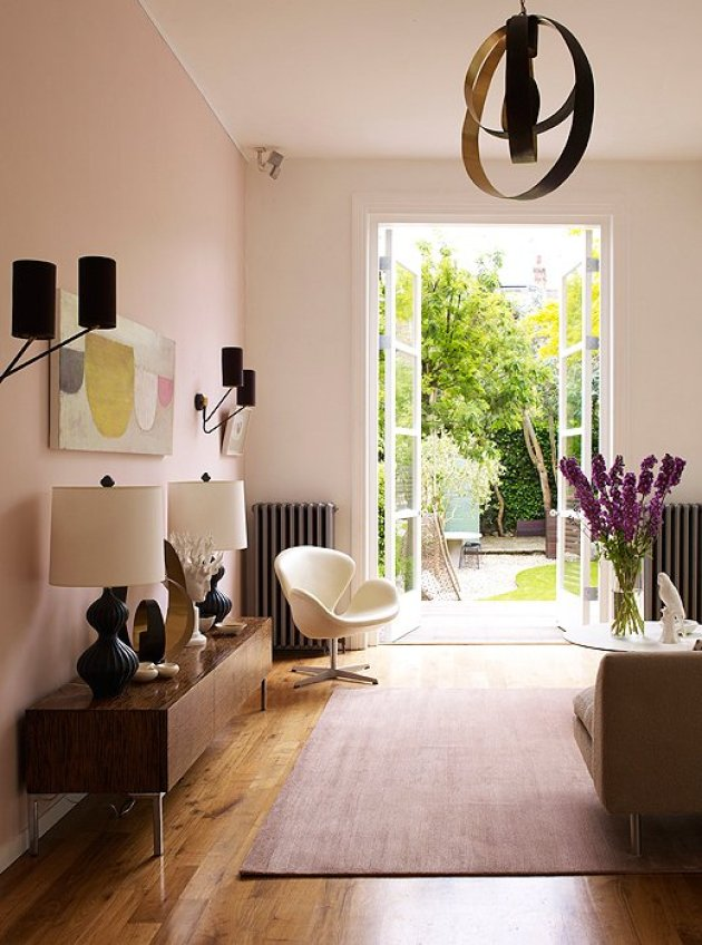Accent Wall Ideas - Soften with Soothing Pink - Cabritonyc.com