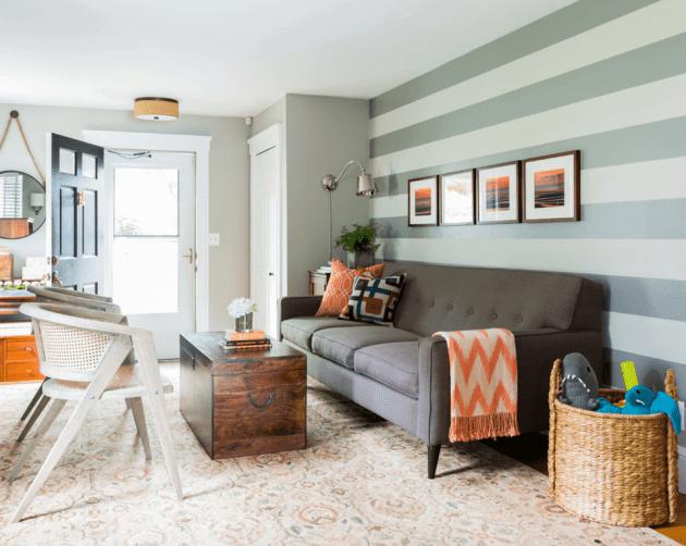 Accent Wall Ideas - Horizontal Stripe Living Room - Cabritonyc.com
