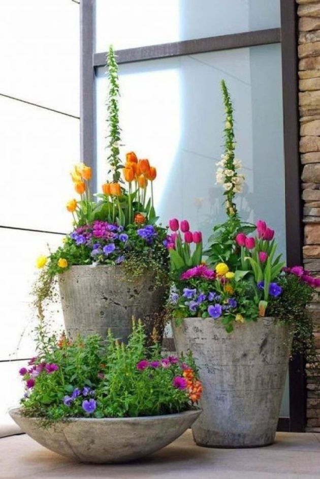 Front Door Flower Pots Ideas - Concrete Spring Flower Pot Display - Cabritonyc.com
