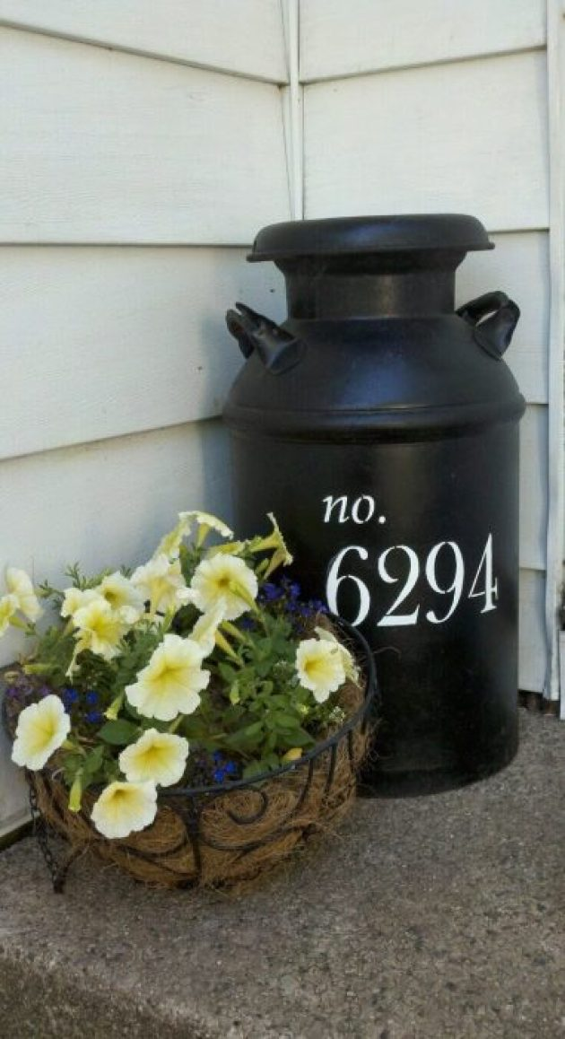 Front Door Flower Pots Ideas - Milk Can and Metal Basket Flower Display - Cabritonyc.com