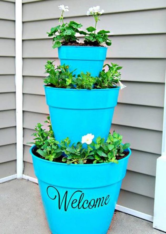Front Door Flower Pots Ideas - Tiered Front Door Flower Pot Welcome Decoration - Cabritonyc.com