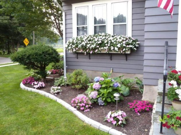 Front Yard Landscaping Ideas Cheerful Floral Border and Window Boxes - Cabritonyc.com