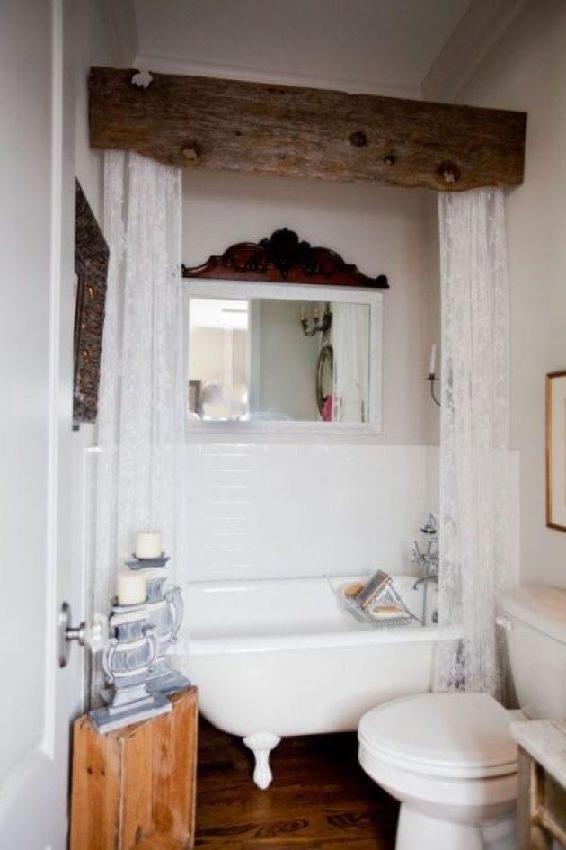 Rustic Bathroom Decor Ideas - Rough Beam Cornice Box for Shower Curtains - Cabritonyc.com