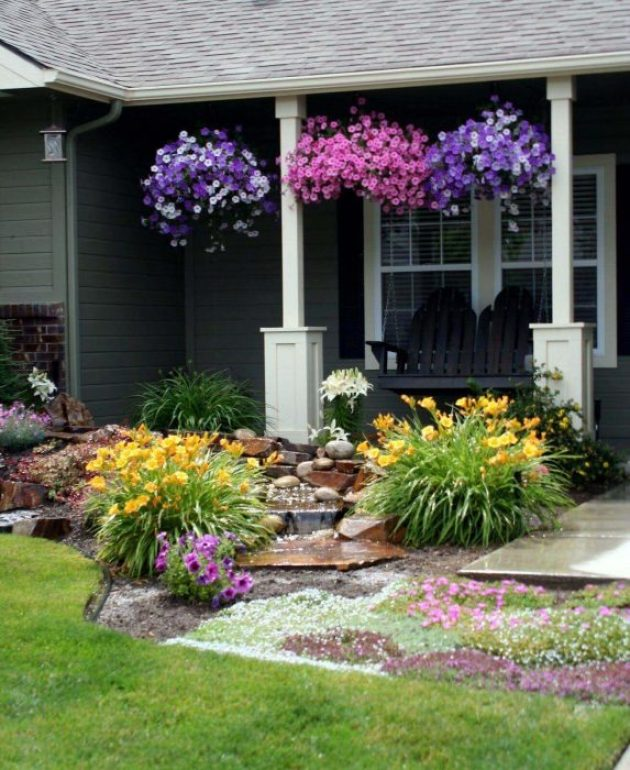Front Yard Landscaping Ideas: Porch Full of Petunias