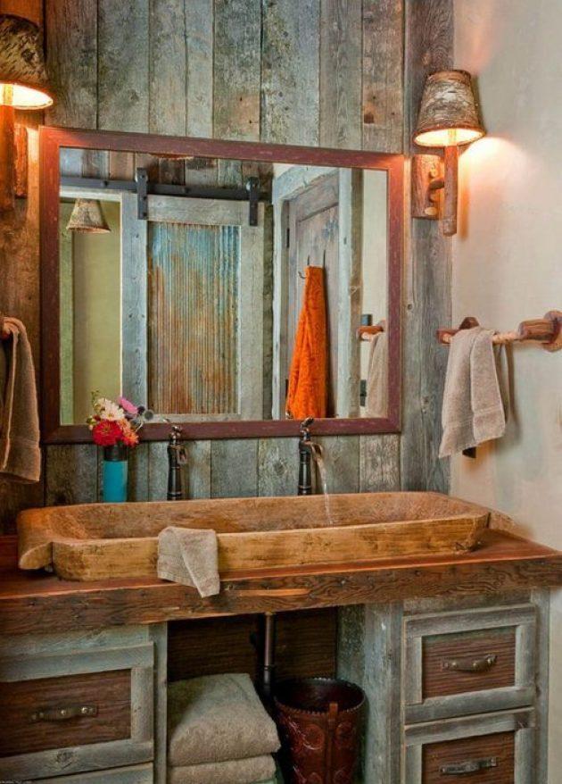 Rustic Bathroom Decor Ideas - Stone Double Sink and Barn Wood Paneling - Cabritonyc.com