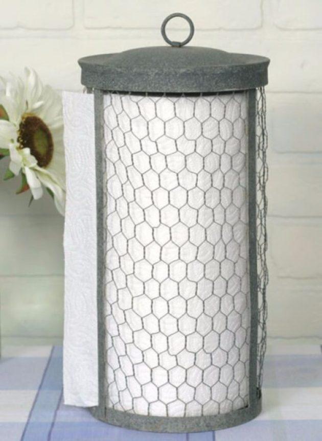 Farmhouse Kitchen Decor Design Ideas - Rustic Paper Towel Roll Coop - Cabritonyc.com