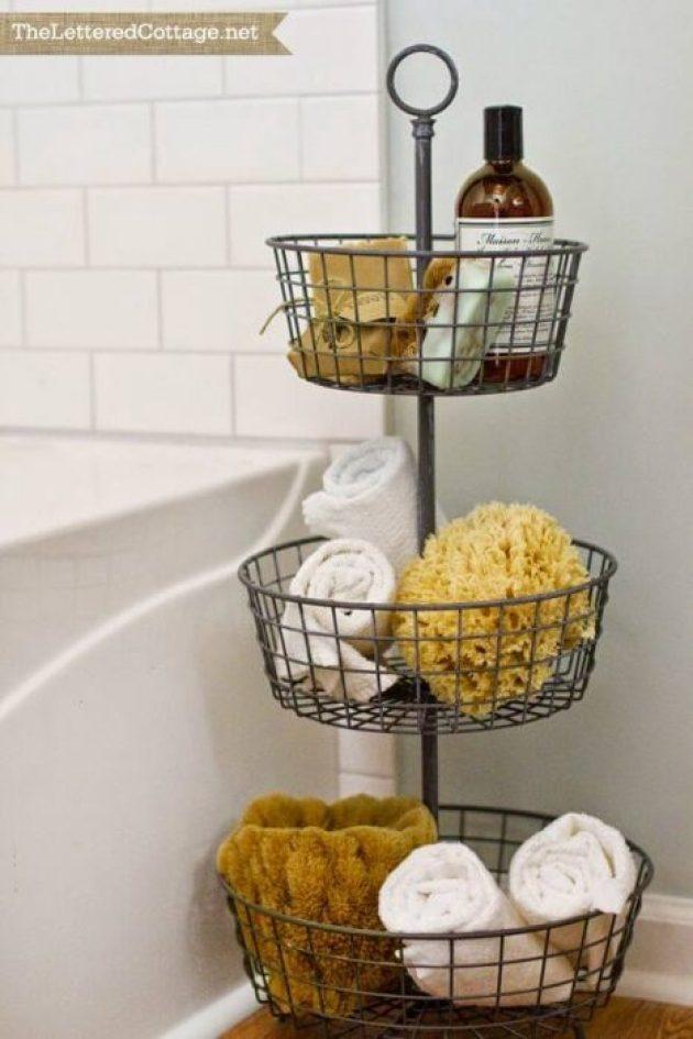 Farmhouse Bathroom Decor Ideas - Tiered Metal Basket Bathroom Organizer - Cabritonyc.com