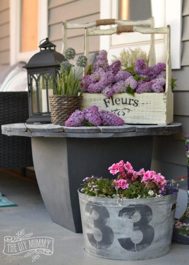 Farmhouse Porch Decorating Ideas - Shades Of (Rustic) Gray Repurposed Table & Planters - Cabritonyc.com