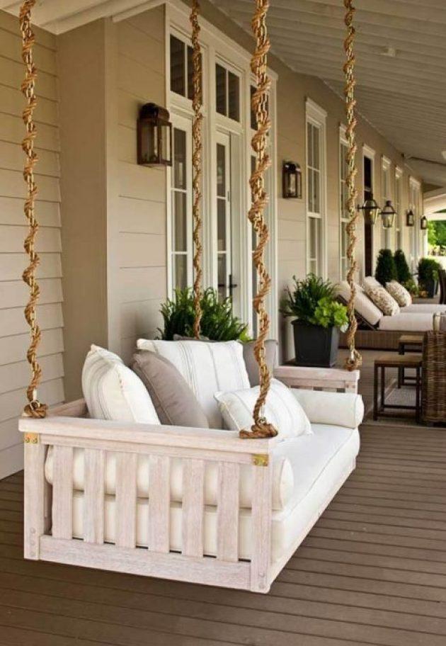 Farmhouse Porch Decorating Ideas - Bed-To-Porch Suspended Swing- Cabritonyc.com