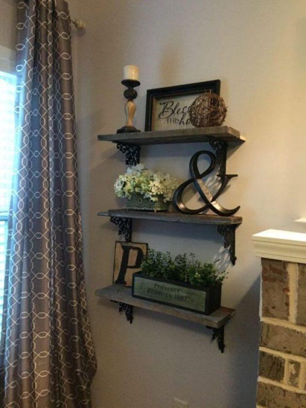 Rustic Wall Decor Ideas - Triple Shelf Display with Wrought Iron Brackets - Cabritonyc.com
