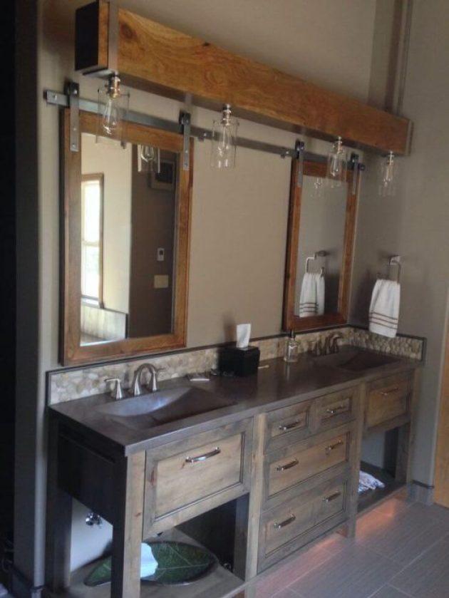 Farmhouse Bathroom Decor Ideas - Barn Door Bathroom Cabinet - Cabritonyc.com