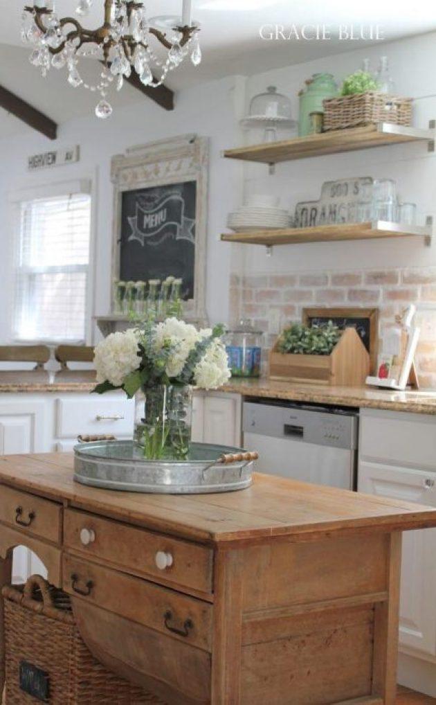 Farmhouse Kitchen Decor Ideas - Vintage Desk as Farmhouse Kitchen Island - Cabritonyc.com