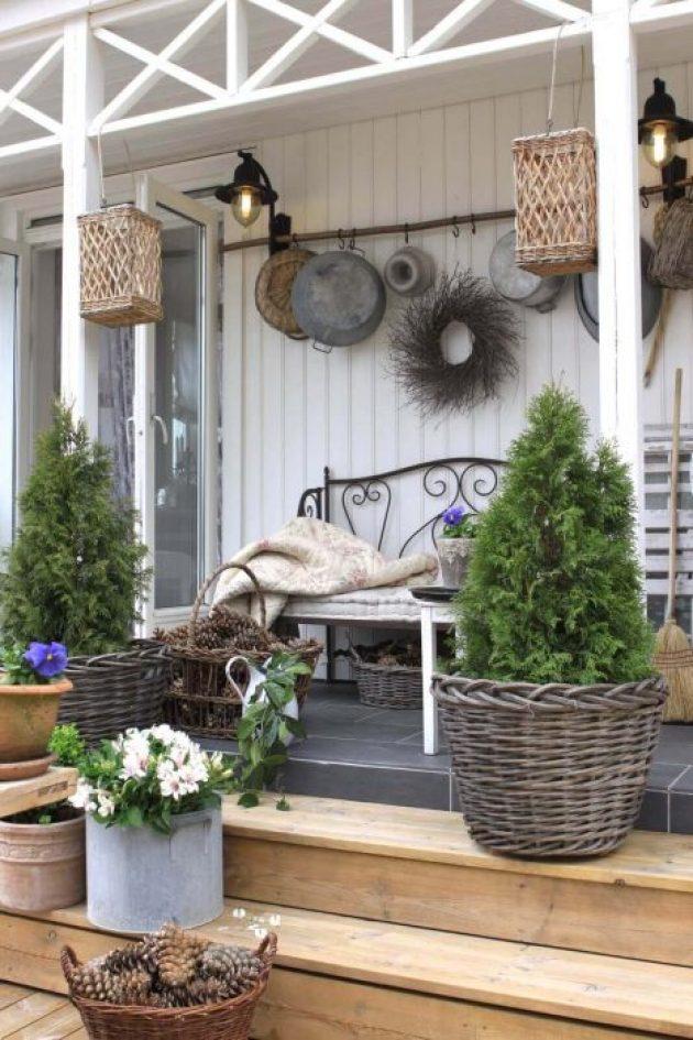 Farmhouse Porch Decorating Ideas - A Walk In The Woods Rustic Wicker & Pinecone Porch Decor - Cabritonyc.com