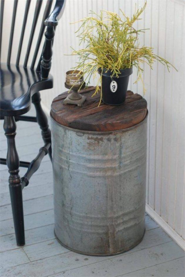 Farmhouse Porch Decorating Ideas - Rustic Tin Pail Wood-Top Table - Cabritonyc.com