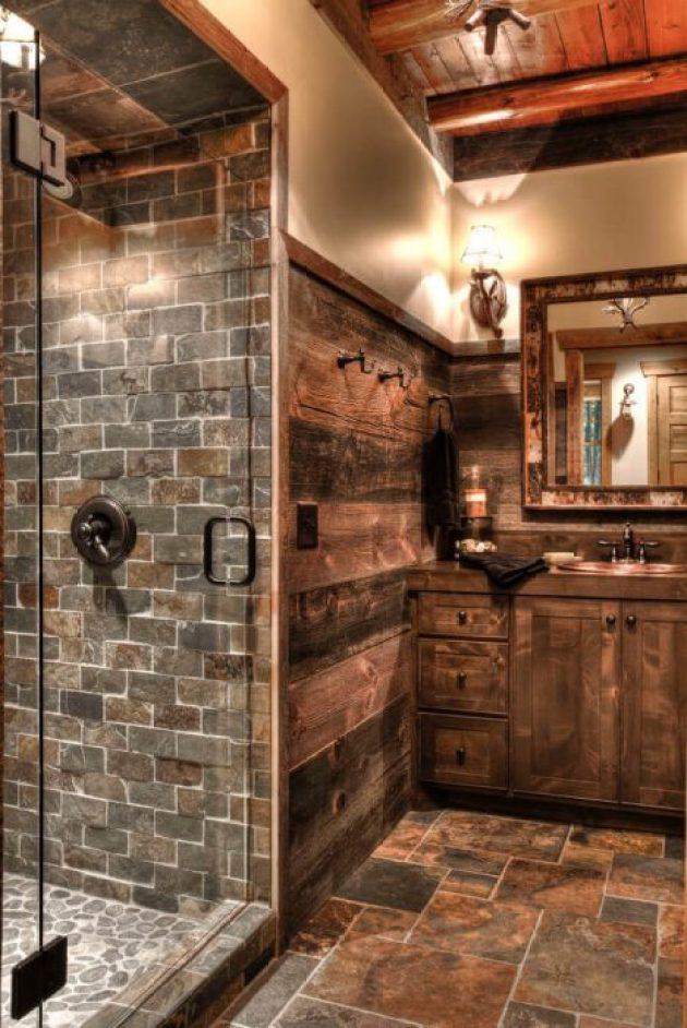 Rustic Bathroom Decor Ideas - Stone Lodge Bathroom Featuring a Camo-edged Mirror - Cabritonyc.com