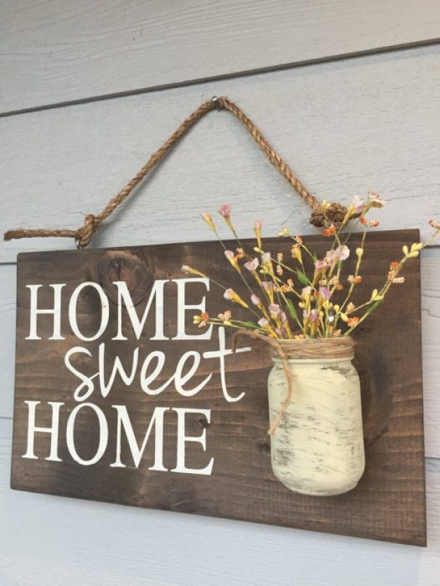 Farmhouse Porch Decorating Ideas - Prairie Home-Sweet-Home Sign & Flower Holder - Cabritonyc.com