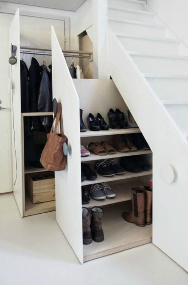 Storage Ideas for Small Spaces - Shoe Storage Under the Stairs - Cabritonyc.com