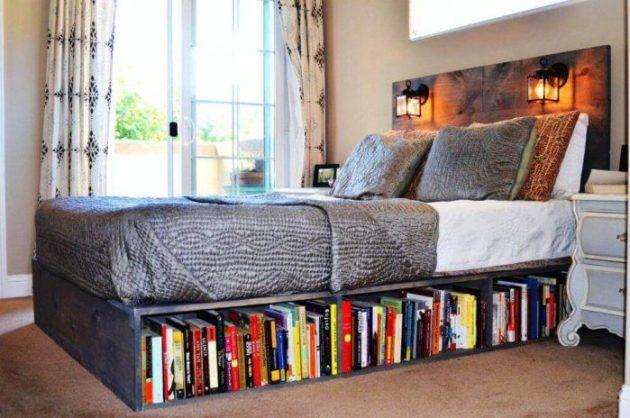 Storage Ideas for Small Spaces - Install a Bookshelf Beneath the Bed - Cabritonyc.com