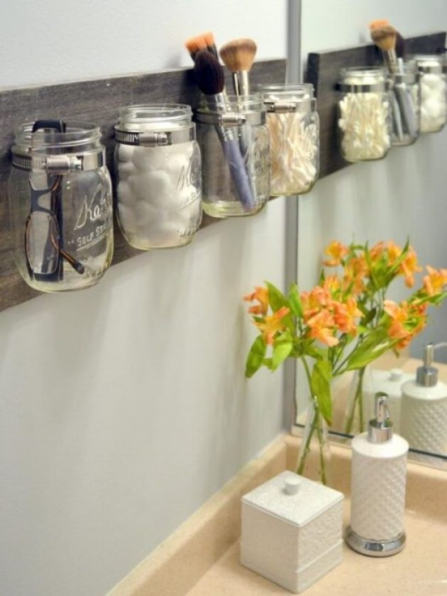 Storage Ideas for Small Spaces - Gorgeous and Practical Mason Jar Storage - Cabritonyc.com