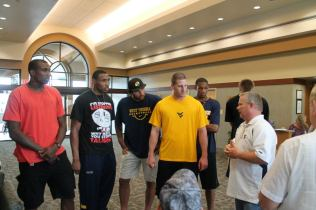 Zach-Miracle-82-Bud-explains-Zach's-miracle-to-WVU-Basketball-Team-at-HealthSouth-2012-07-19