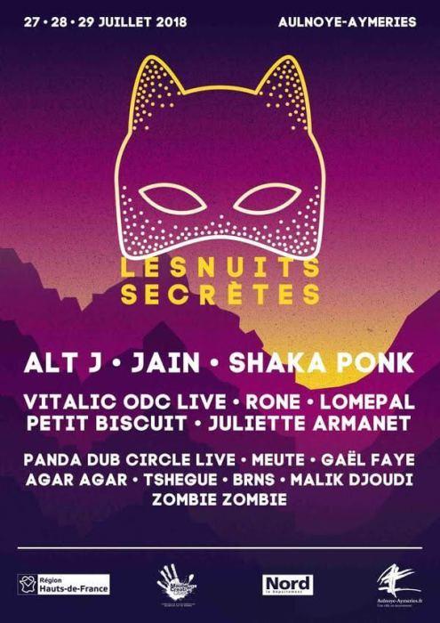 Affiche Les Nuits Secrètes 2018 festival ça c'est culte Aulnoye-Aymeries Hauts-de-France