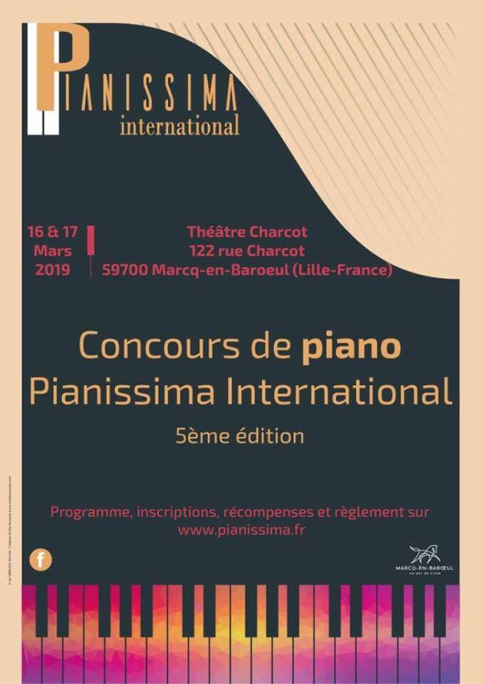 Concours de Pianissima International à Marcq-en-Baroeul les 16 et 17 mars