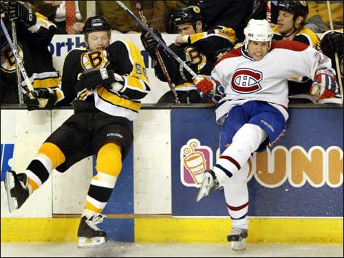 Bruins defenseman Sergei Gonchar, who had a goal and an assist, stepped out with Montreal's Steve Begin after they collided in the third period.