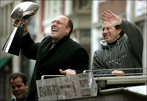 Scott Pioli GM of  the New England Patriots  alongside  coach Bill Belicheck..............
