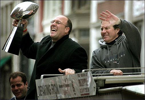 Scott Pioli GM of  the New England Patriots  alongside  coach Bill Belicheck..............