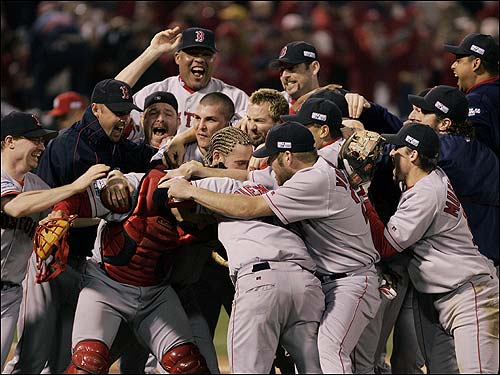 Arroyo's trademark cornrows can be seen in the middle of the pile after the Red Sox clinched the 2004 World Series in Game 4.