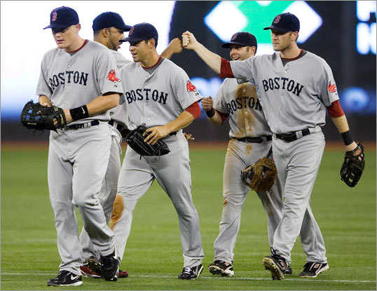 The Red Sox celebrated their win and three-game sweep of the Blue Jays.