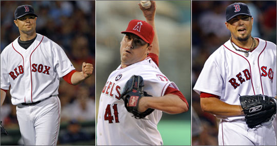 2009 statistics: Jon Lester: 32 starts, 15 wins, 203.1 IP John Lackey 27 starts, 11 wins, 176.1 IP Josh Beckett 32 starts, 17 wins, 212.1 IP The Red Sox' top three pitchers easily make the case for the best trio in the league. One minor cause for alarm: Lackey started last season with a sore elbow, which caused him to miss the first month of the season.