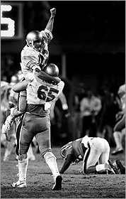 Doug Flutie threw the legendary Hail Mary pass to receiver Gerard   Phelan in 1984.