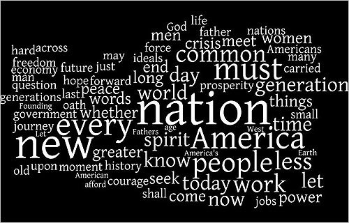 This word cloud was compiled from the text of Obama's inaugural address , which totaled more than 2,000 words. 'Nation' was the most frequently used word, keeping with Obama's campaign theme of uniting the country. Here's one way he used it: 'In reaffirming the greatness of our nation , we understand that greatness is never a given. It must be earned. Our journey has never been one of shortcuts or settling for less.' Other prominent words include 'today,' 'now,' and 'forward,' all of which refer to the present and the future.