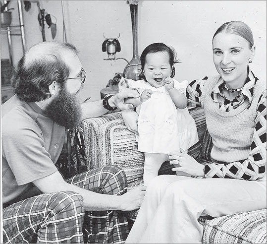 Author Mei-Ling Hopgood with her parents. She was adopted from Souther Taiwan in 1974.