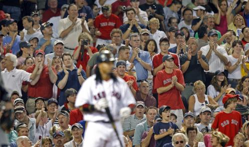Despite his recent struggles, the fans serenaded Manny Ramirez with a standing ovation as he came to the plate in the eighth inning and he responded with an RBI single scoring Dustin Pedroia with the game's lone run. Stroll through our gallery to see more scenes from Monday's 1-0 win over the Twins.