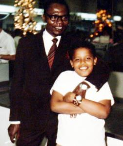 A young Barack Obama is seen with his father,Barack Obama Sr.