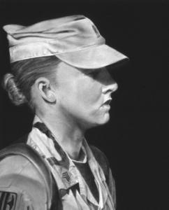 Weston artist Linda Bond's 'Volunteer' is among her works, drawn in gunpowder, on exhibit at Thompson Gallery in Weston.
