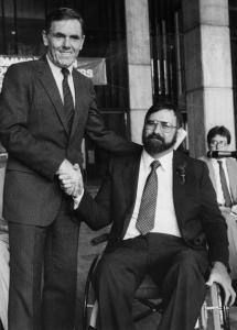 Mayor Raymond Flynn put Charles Sabatier (also in recent photo at right) in charge of the city's access effort in 1985.