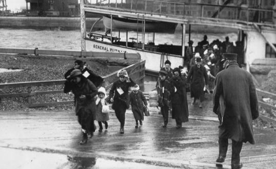 Immigrants from Belgium arrive at Ellis Island in 1917.