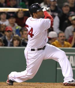 Darnell McDonald watches as his pinch-hit, two-run homer sails out of Fenway in the eighth.