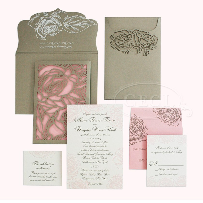 Luxury Wedding Invitations By Ceci New York Our Muse Romantic Rose Be