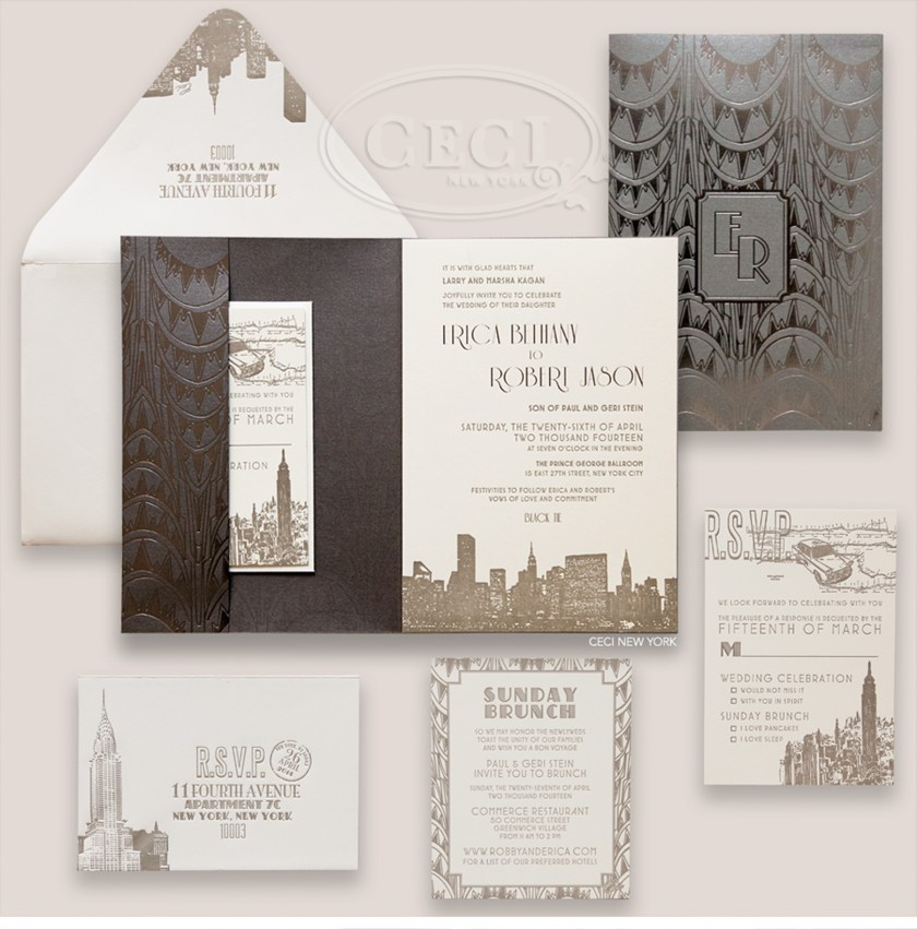 Luxury Wedding Invitations By Ceci New York Our Muse Charming City Hall