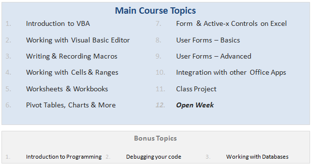 VBA Classes - Lesson Plan